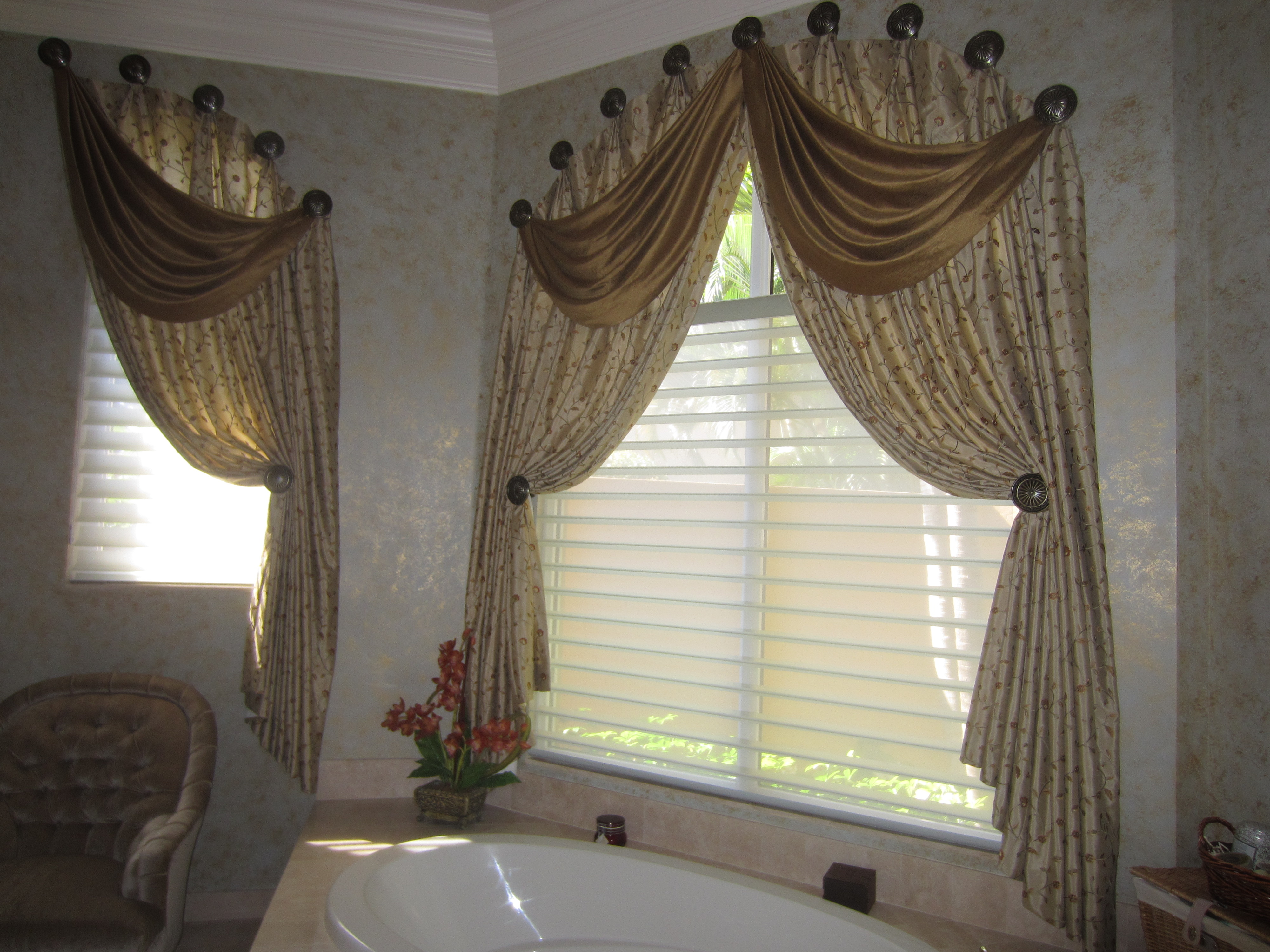 Silk Side Panels on Medallions w/ Swag Overlays over Hunter Douglas Motorized Silhouettes