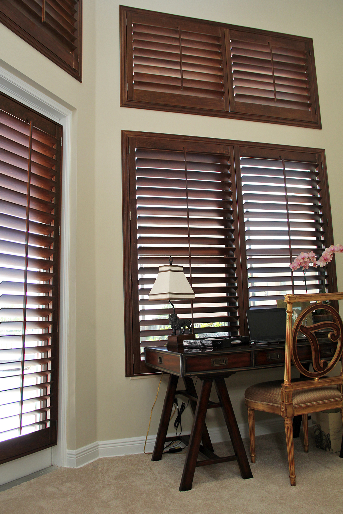 Stained Hardwood Plantation Shutters